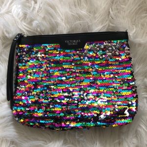 Sequined multi colored clutch/ cosmetic bag